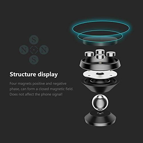 Icheckey supporto auto universale rotazione di 360gradi in lega di alluminio supporto magnetico porta cellulare per iPhone 7?Samsung S8?OnePlus 3e altri smartphone paste