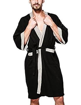Mens Suave SPA Albornoz Kimono Robe Sleepwear con Bolsillos De Longitud De La Rodilla