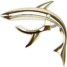 Bonwish Shark Capo für Gittare, hochwertige einhand Gitarre Kapodaster, Gitarre Capo Trigger Kapodaster Schnellwechsel für Akustik Konzertgitarre Klassikgitarre E-Gitarren (gold)