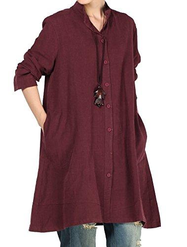 Vogstyle Damen Herbst Baumwolle Leinen Voller vorderer Knopf Blouse Kleid mit Taschen Style 1 XX-Large Red (Kleid Pullover Red)