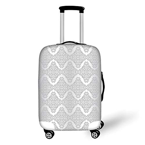 Travel Luggage Cover Suitcase Protector,Silver,Damask Inspired Floral Motifs in Symmetrical Old Fashioned Design Swirls and Curls Decorative,Silver White,for Travel,L International Silver Swirl