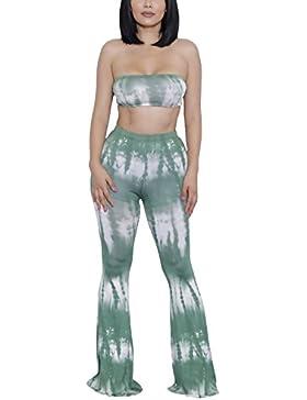Mujer 2 Piezas Sets Bandeau+Largas Pantalones Dos Piezas Estampadas Patrón Slim Fit Casual Sin Tirantes Backless...
