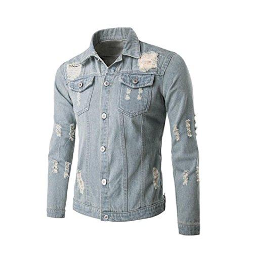 Cappotto Uomo, Reasoncool Uomini Equipaggiata manica lunga Jean denim Coat Foro camicia camicetta classica alti giacca (XL-Busto:41.7