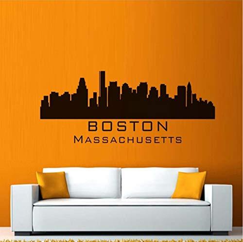 Dalxsh Boston Massachusetts City Wandaufkleber Silhouette Gebäude Wandtattoo Schlafzimmer Skyline PVC Wandkunst Aufkleber Dekoratives Dekor 51x21cm