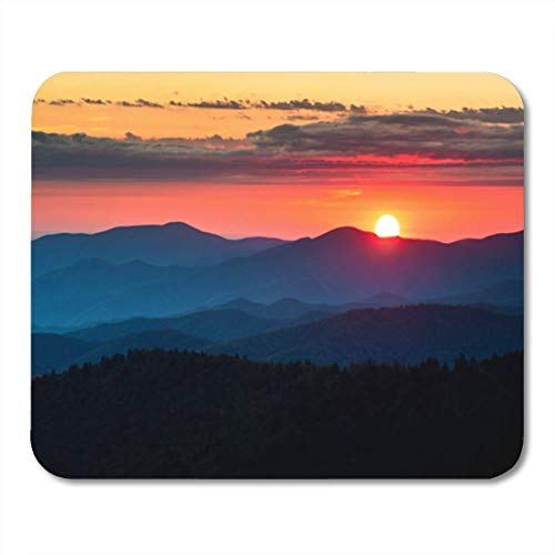 Sunset Dome (HOTNING Gaming Mauspads, Gaming Mouse Pad Clingmans Dome Great Smoky Mountains National Park Scenic Sunset Landscape 11.8