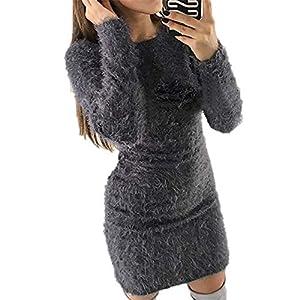 AGZDQTWVWinterkleid Damen Schwarz Kleidung Sexy Mini Bandage Strickkleid Für Damen