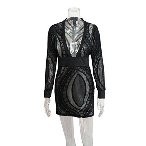 OVERDOSE Damen Schwarz Hoher Kleid Hals Hochgeschlossen Hoch Necked Langarm Paket Hüfte Dünnes Kleid (S, Y-C-Black) - 6
