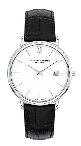 Abeler & Söhne–Made in Germany–Orologio da uomo con cinturino in pelle, Vetro Zaffiro e Data as1313