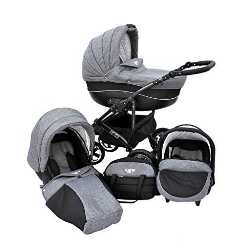 *Cleo Kombi Kinderwagen 3 in 1 Komplettset – grau/schwarz*