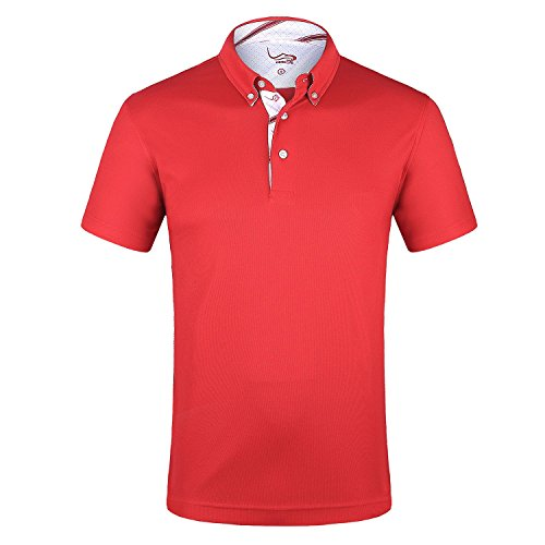 EAGEGOF Herren Polo Shirts Golf Funktional T-Shirt AN016, Dunkelrot - M