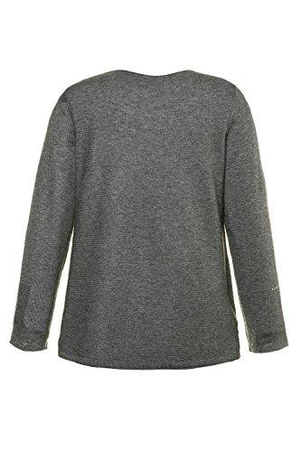 Ulla Popken Große Größen Damen Pullover, Ziernieten Grau-Melange