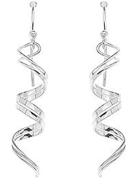 Ornami Silver Ladie's Double Sprial Twist Hook Wire Drop Earrings