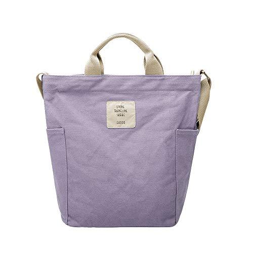 Gindoly Casual Handtasche Damen Canvas Chic Schultertasche Damen Henkeltasche Schulrucksack Große umhängetasche Tasche Lila EINWEG - Lila Shopper