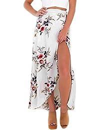 Aivtalk - Falda Estampada floral Asimétrica para Mujer para Playa Primavera  Verano Fiesta Noche Cintura Alta 0516ff416112