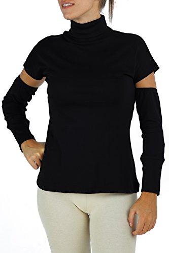 B.e Rollkragenshirt mit abgetrennten Ärmeln Frau Pima Baumwolle Empfindlicher Haut Ethisch Slowfashion T5 (Mock Rollkragen Jersey)