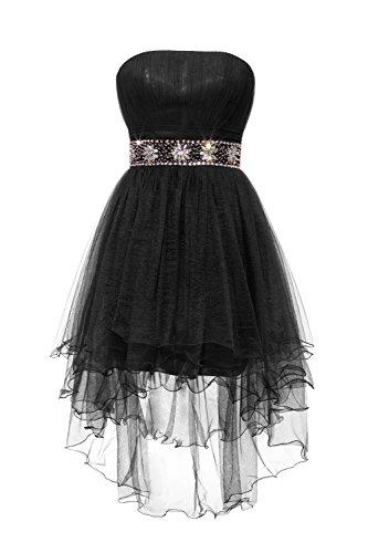 YiYaDawn Kurzes Abendkleid Ballkleid aus Tüll für Damen Schwarz