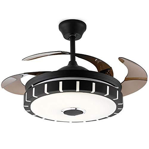 TIPQ LED Bluetooth Musik Kronleuchter 42 Zoll einfache Wohnzimmer Schlafzimmer Fan Licht unsichtbar bunten Lüfter leuchtet dekorative grüne Kronleuchter - Abs 4-steuerelemente