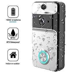 Jingfude Imperméable WiFi Sonnette Vidéo Carillon sans Fil, Stockage Nuage et Carte SD 8G, Vision Nocturne Infrarouge, Détection Mouvement Intelligente pour Sécurité Domicile