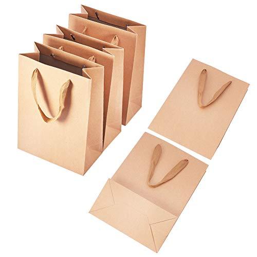 PandaHall Elite 10PCS Borse regalo Kraft Borse shopping con manici in carta Mechandise, borse da sposa (11'x 13' x 3,9')