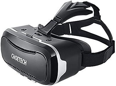 [3D VR Gafas ] CHOETECH 3D VR Auricular Glasses VR 3D Realidad virtual Caja con Ajustable Lente y Correa 3D VR casco de realidad virtual 3D Glasses Video Peliculas Juegos Gafas para iPhone, Samsung, HTC, LG y otros telefonos inteligentes 3.5-6 pulgadas