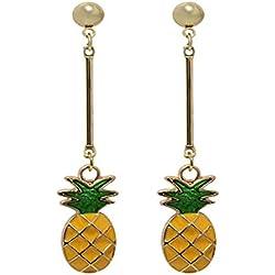 Pendientes largos con forma de gota chapados en oro de 18 quilates, diseño de hoja verde fruta, piña