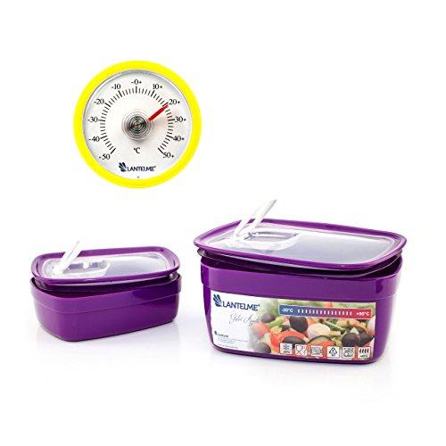 Lantelme 6436 Küchenhelferset mit Mikrowellenschüssel und Küchen Thermometer - Schüsselset Kunststoff Farbe lila und Analogthermometer Farbe gelb