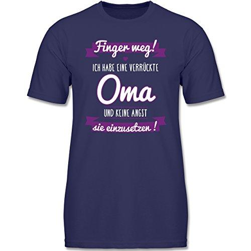 Verrückte Jungs T-shirt (Shirtracer Sprüche Kind - Ich Habe eine Verrückte Oma Lila - 128 (7-8 Jahre) - Navy Blau - F140K - Jungen T-Shirt)
