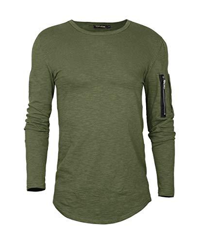 AitosuLa Langarmshirt Herren Long Sleeve T-Shirt Rundhals Einfarbig Base Tops Oberteile Langarm Shirt Slim Fit Basic Casual Tee Pullover Bluse Grün M