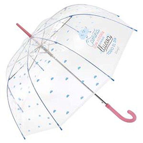Paraguas largo transparente Mr.Wonderful Camina Rosa