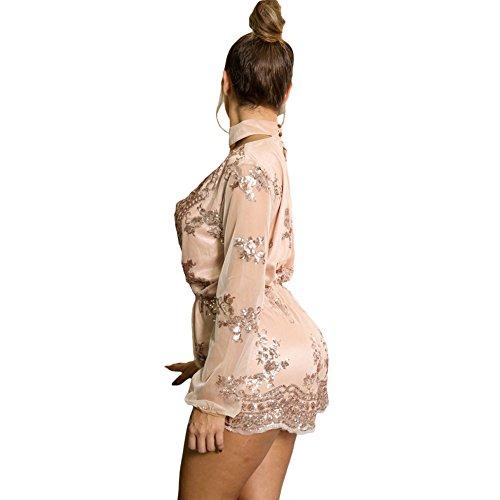 Europe et les paillettes des États-Unis élégantes femmes brodé V col de mode pantalon de pièce champagne