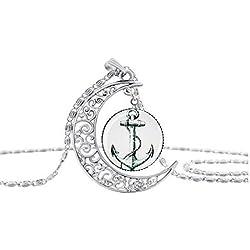 Barco ancla y timón colgante, símbolo de amistad, hecho a mano collar para Voyager o Traveler