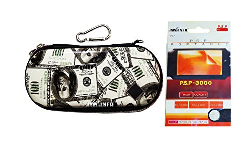 """Jain Info™ Branded Zip Pouch/Case/Cover (Silver USD Color) For PSP With a Free Screen Guard - - Compatible with PSP Consoles (1000/2000/3000 & Latest E1000/E1004 series). Generic (""""Wholesale Bulk Deal"""") New Model/Design 2017"""
