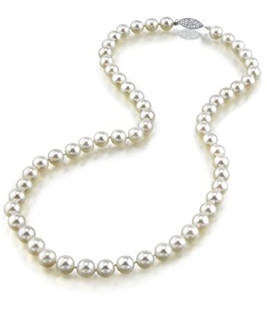 14K Gold 6.5-7.0mm Japanese Akoya White Cultured Pearl Necklace - AAA Quality, 17