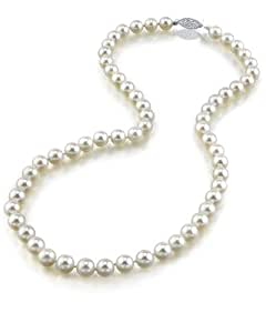 "14K Gold 6.5-7.0mm Japanese Akoya White Cultured Pearl Necklace - AA+ Quality, 18"" Princess Length"