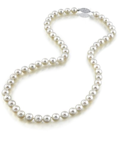 "14K Gold 6.5-7.0mm Japanese Akoya White Cultured Pearl Necklace - AAA Quality, 17"" Princess Length"