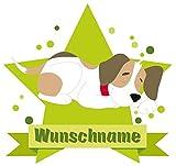 Samunshi Süßer Hund Aufkleber mit Namen Autoaufkleber Namensaufkleber Kinder in 7 Größen (20x17,5cm Mehrfarbig)