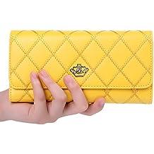 Monedero Billetero Corona del enrejado de la cremallera de las mujeres elegantes con bolsillos para tarjetas de identificación de efectivo y su iPhone