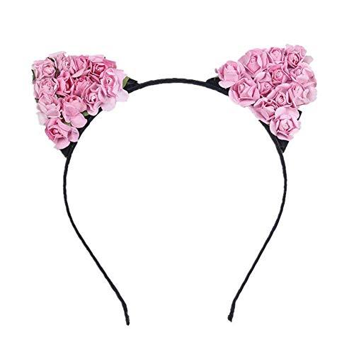 Xianjun Blumen-Katzenohren-Stirnband, kleine Teufel-Rosen-Papierblumenkopfbedeckung für tägliches Tragen und Partei-Dekoration