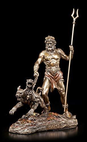 Hades Figur - Herr der Unterwelt mit Kerberos | Mythologie-Figur, bronziert & coloriert