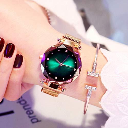 Beobachten Frauen Uhren, Starry Quarzuhr Faule Uhr Magnetband Und Armband Set wasserdichte Freizeit Uhr Glas Zifferblatt (Farbe : Grün)