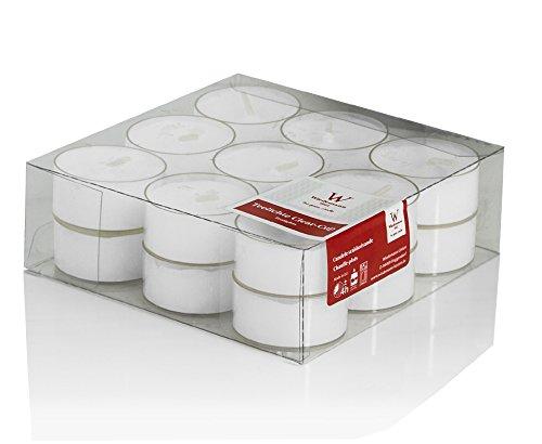 Teelichter Weiß 4 Stunden 18 x 38 mm, 18 Stück, in klarer Hülle PC-Cup, Klarsichtcup, in Premium Qualität