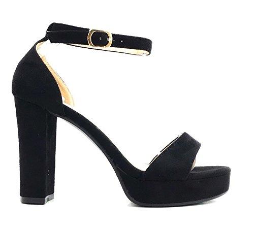 Damen Riemchen Abend Sandaletten High Heels Pumps Velours Peep Toes Party Slingbacks Schuhe Bequem 010 (38, Schwarz)