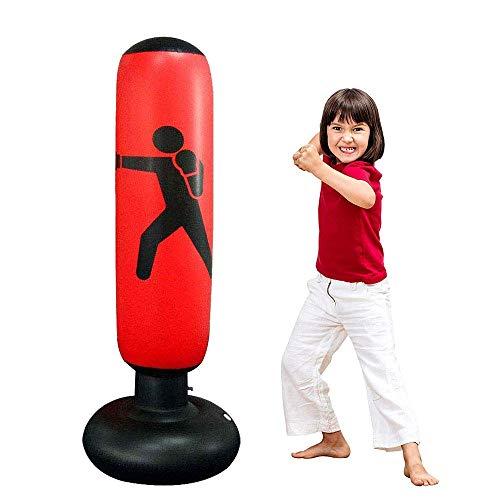 JanTeel Sacco da Boxe, Sacco da Boxe da Terra 160 cm, MMA Punching Kick Training Tumbler Bag per Bambini Adulti alleviare la Pressione Body Building (Rosso-C)