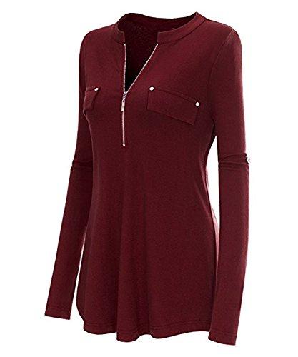 Moon Angle Frauen V Ausschnitt Langarm Roll Up Ärmel Zipper Casual Bluse T Shirts Tops Weinrot