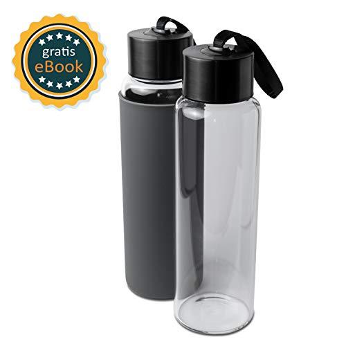 Basil   Premium Wasserflasche Glas & Trinkflasche aus hochwertigem borosilikat Glas   1000ml   auslaufsicher, BPA frei & spülmaschinengeeignet   Sportflasche & Glasflasche mit Silikonsleeve -