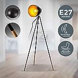 B.K Licht lampadaire LED vintage, lampe à pied design rétro, Ø abat-jour 24cm, métal noir doré, pour ampoule E27 LED ou halogène de 40W max, hauteur 136 cm
