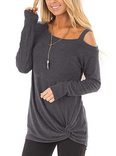 Abravo Femmes T Shirt Manches Longues Casual Cotton en Vrac Sweatshirt Chemise en Vrac Hauts Tops avec Boutons (S=EU 34-36, Z-Gris FONCÉ)