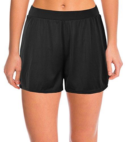 Septangle Damen Einfarbig Schwimmshorts Große Größen Strand Shorts Bikinihose, schwarz Gr.- EU 46/US 14