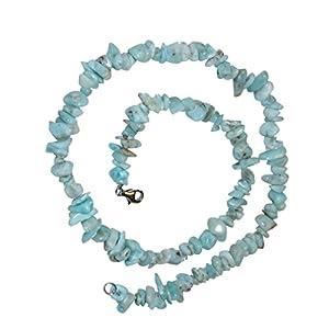 Larimar Splitter Kette 45 cm Länge auch Atlantisstein genannt mit silberfarbenem Karabinerverschluss.(3535)