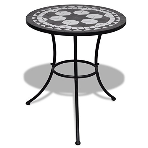 vidaXL Mosaic Table 60cm Black and White Outdoor Garden Balcony Furniture